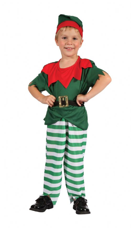 Childs Santa Helper Boy Costume Father Christmas Fancy Dress Outfit